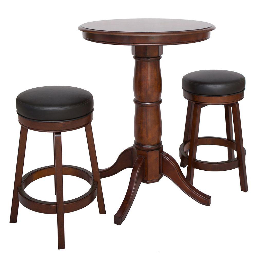 Ensemble de table de pub en bois dur Oxford 3 pièces - finition noyer