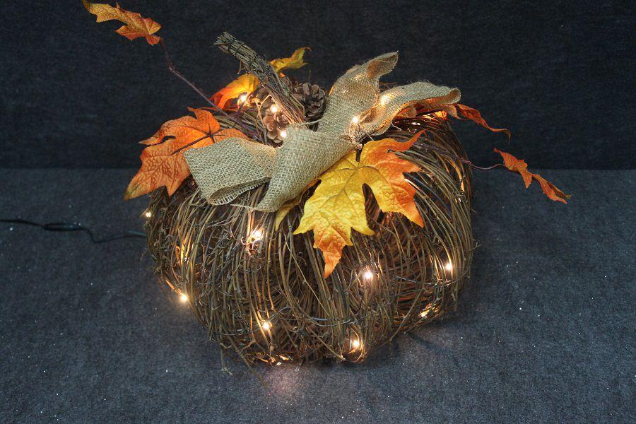 15 Inch Lighted Rattan Pumpkin