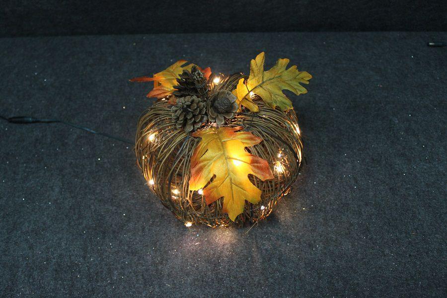 9 Inch Lighted Rattan Pumpkin