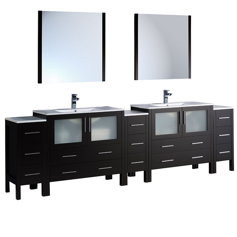 Torino 108-inch W Double Vanity in Espresso with 3 Side Cabinets and Integrated Sinks
