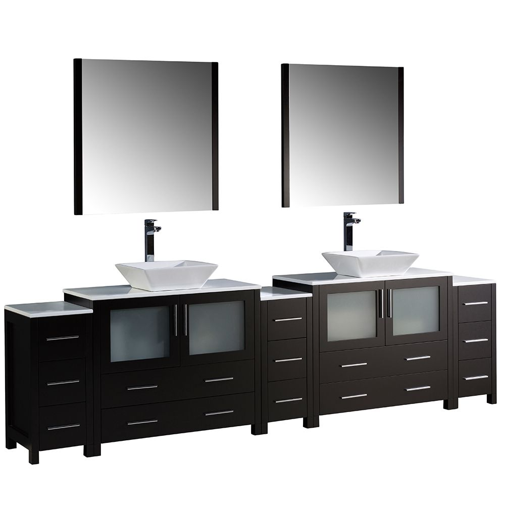 Torino 108-inch W Double Vanity in Espresso with 3 Side Cabinets and Vessel Sinks