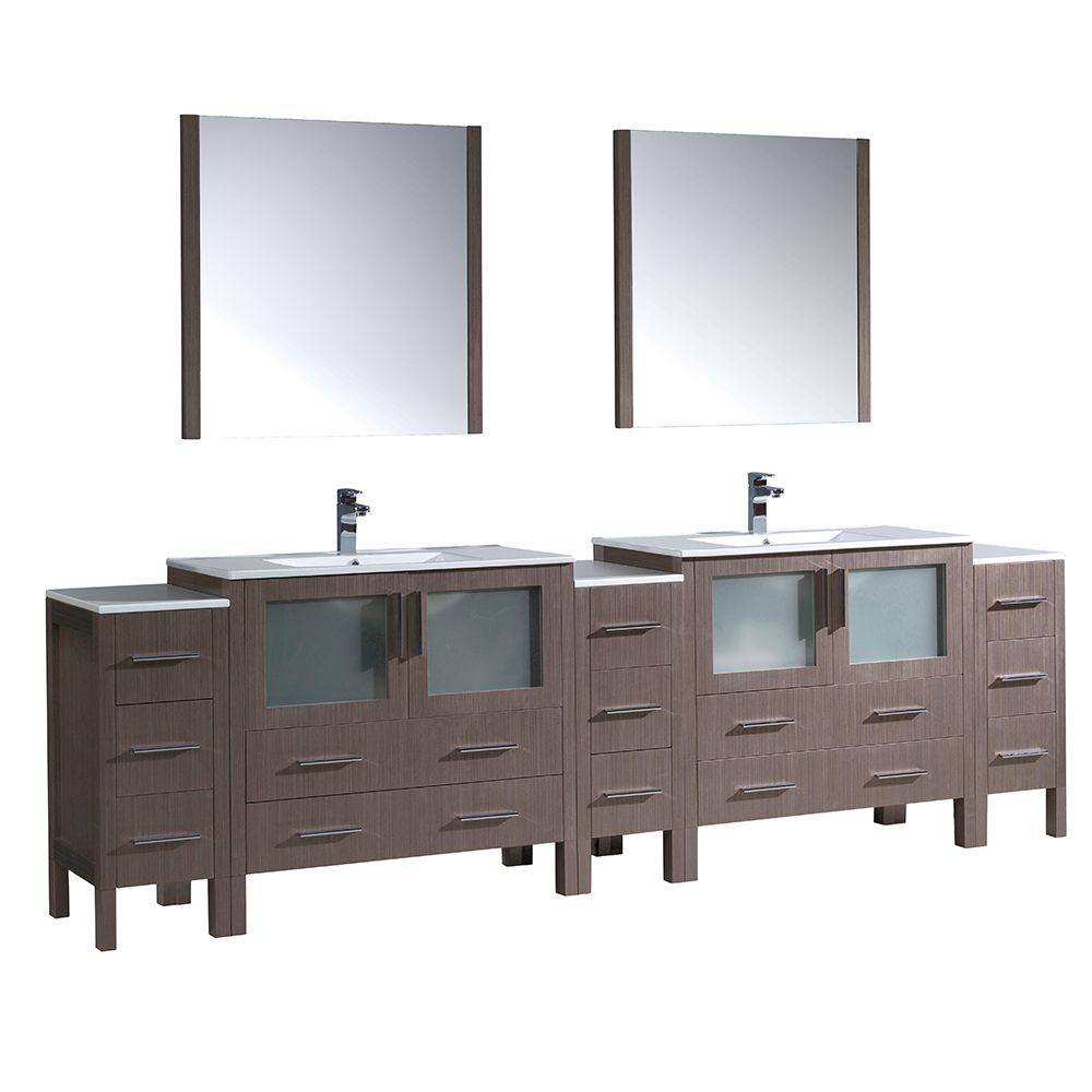 Torino 108-inch W Double Vanity in Grey Oak with 3 Side Cabinets and Integrated Sinks