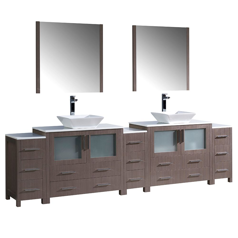 Torino 108-inch W Double Vanity in Grey Oak with 3 Side Cabinets and Vessel Sinks