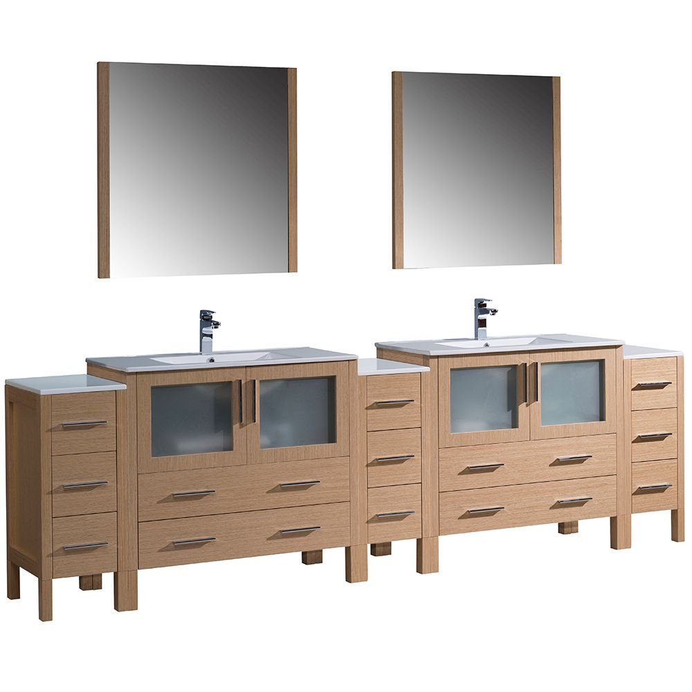 Torino 108-inch W Double Vanity in Light Oak with 3 Side Cabinets and Integrated Sinks