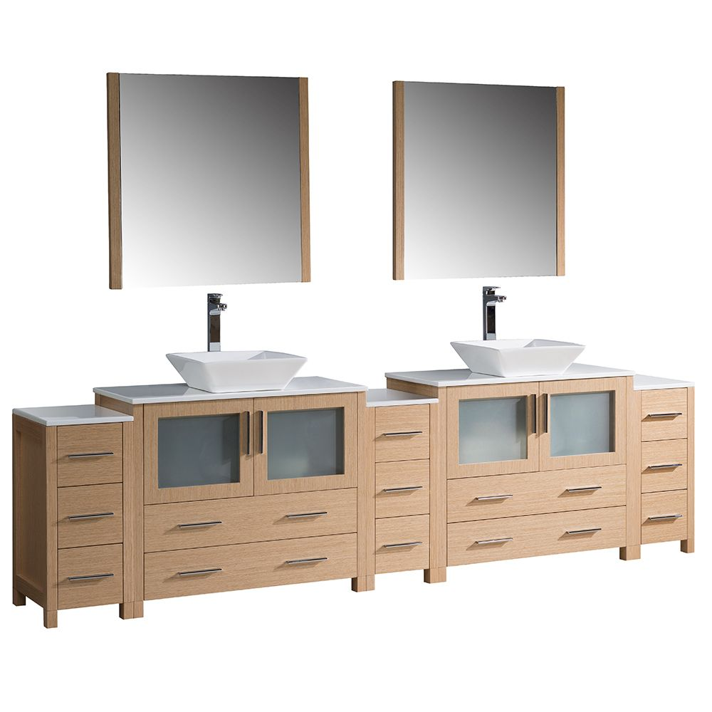 Torino 108-inch W Double Vanity in Light Oak with 3 Side Cabinets and Vessel Sinks