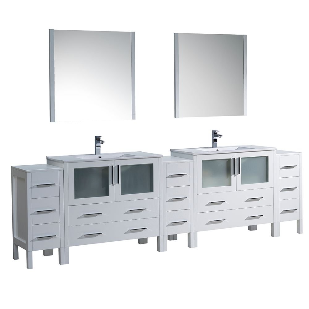 Torino 108-inch W Double Vanity in White with 3 Side Cabinets and Integrated Sinks