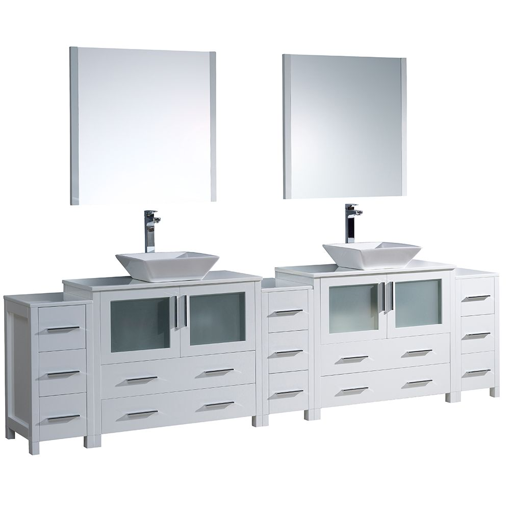 Torino 108-inch W Double Vanity in White with 3 Side Cabinets and Vessel Sinks
