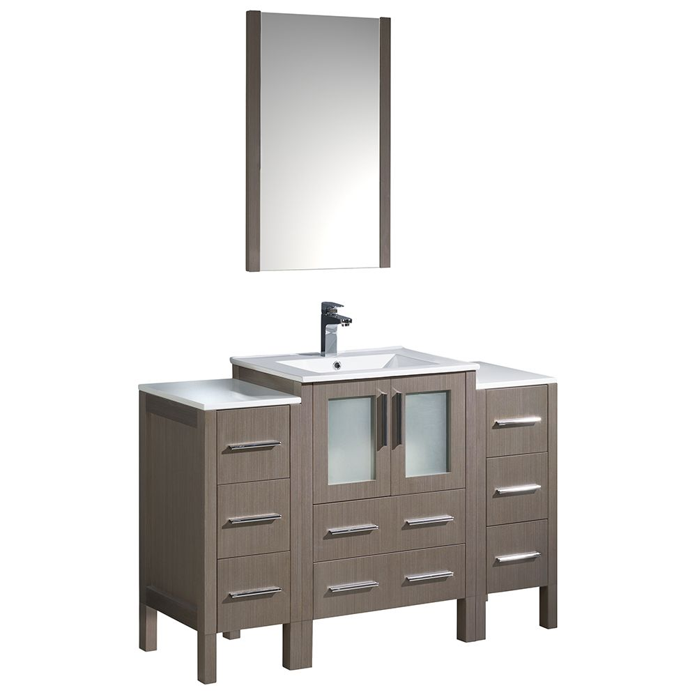 Torino 48-inch W Vanity in Grey Oak with 2 Side Cabinets and Integrated Sink
