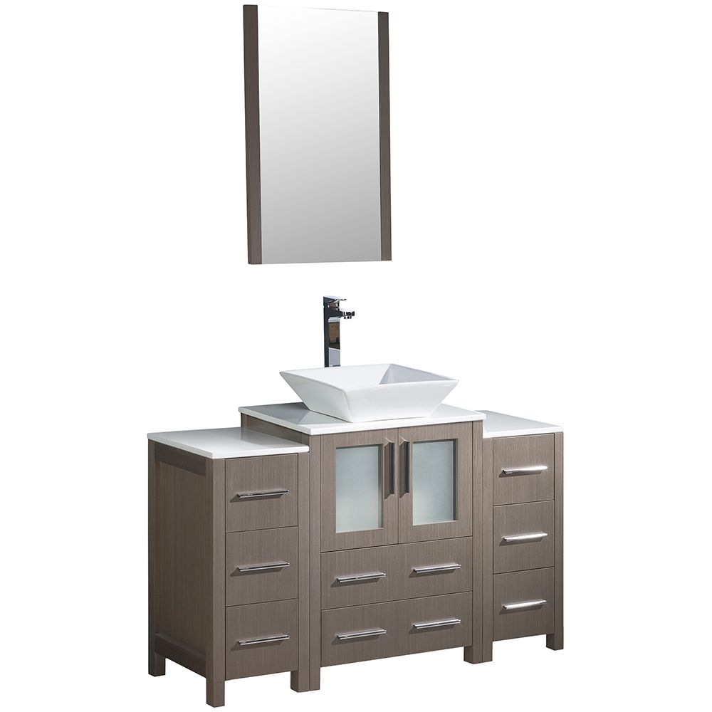 Torino 48-inch W Vanity in Grey Oak with 2 Side Cabinets and Vessel Sink