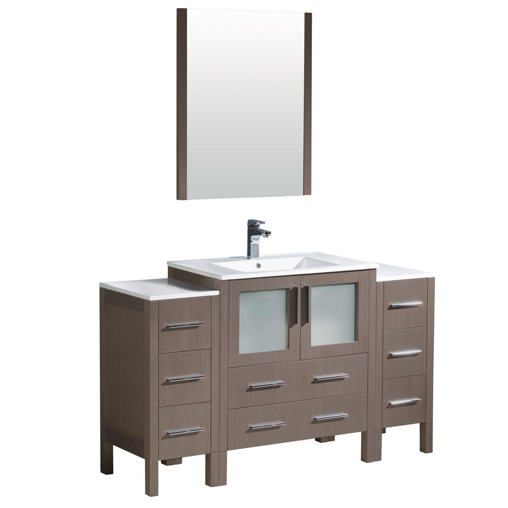 Torino 54-inch W Vanity in Grey Oak with 2 Side Cabinets and Integrated Sink