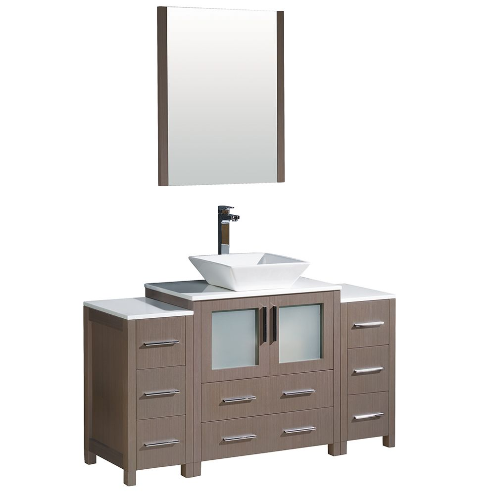 Torino 54-inch W Vanity in Grey Oak with 2 Side Cabinets and Vessel Sink