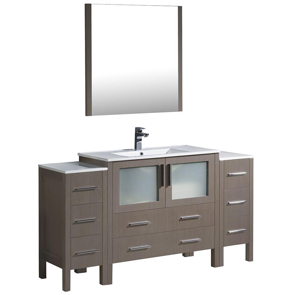 Torino Meuble-lavabo de salle de bains moderne 60 po chêne gris avec 2 armoires latérales
