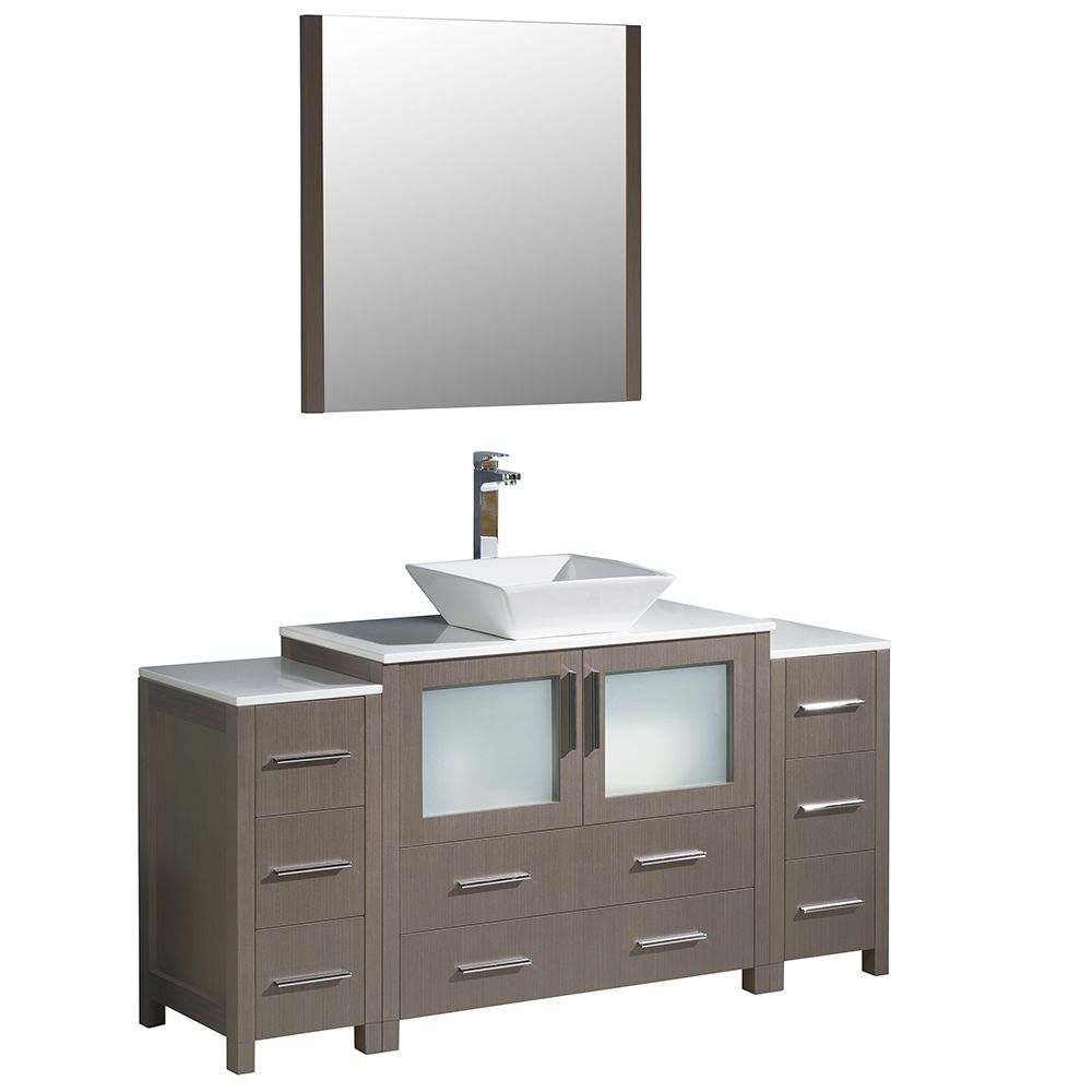 Torino 60-inch W Vanity in Grey Oak with 2 Side Cabinets and Vessel Sink