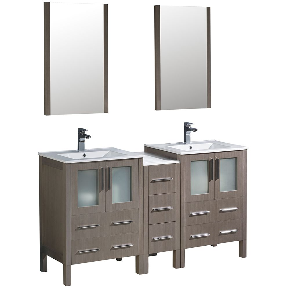 Torino 60-inch W Double Vanity in Grey Oak with Side Cabinet and Integrated Sinks