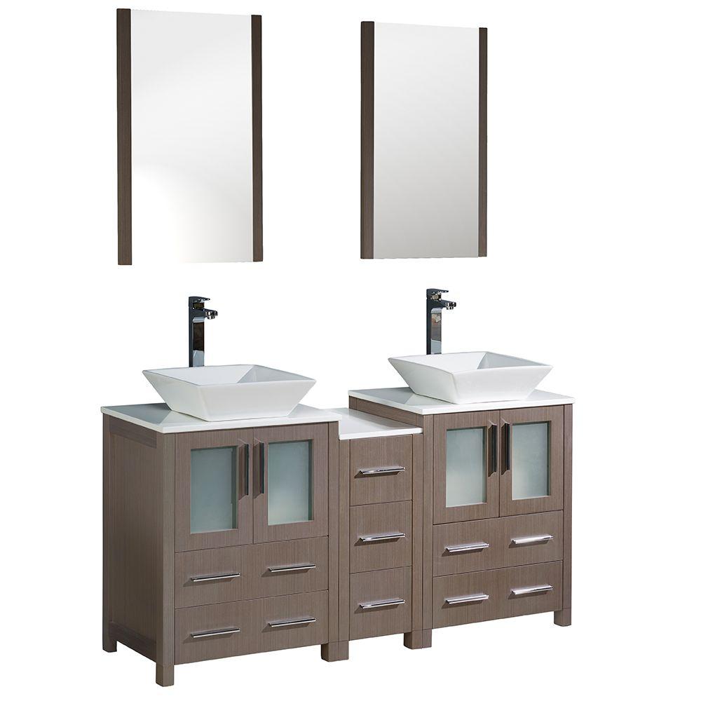 Torino Meuble-lavabo de salle de bains moderne 60 po à évier double chêne gris avec armoire latér...