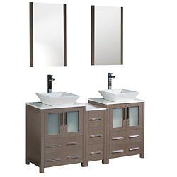 Fresca Torino 60-inch W Double Vanity in Grey Oak with Side Cabinet and Vessel Sinks