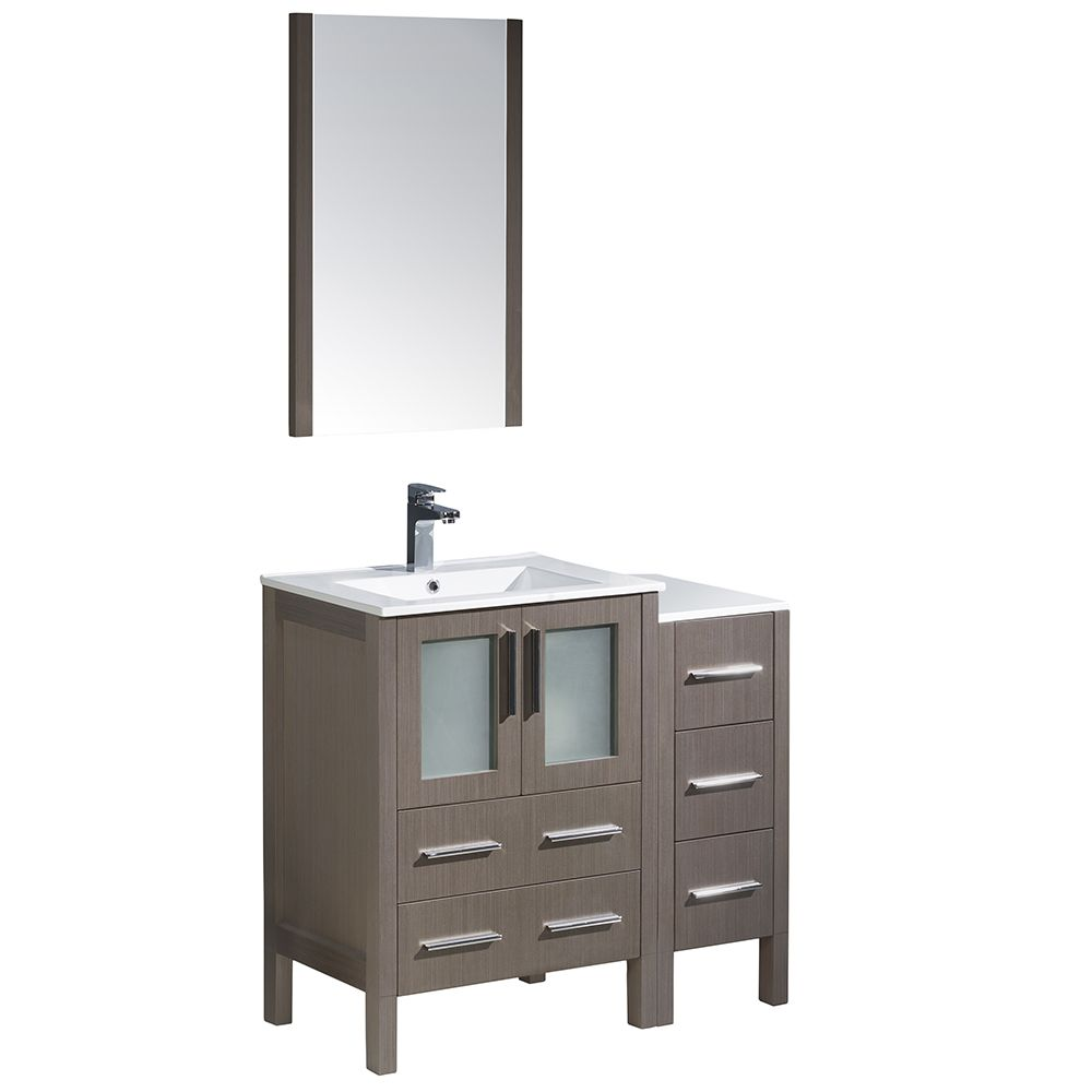 Torino 36-inch W Vanity in Grey Oak with Side Cabinet and Integrated Sink