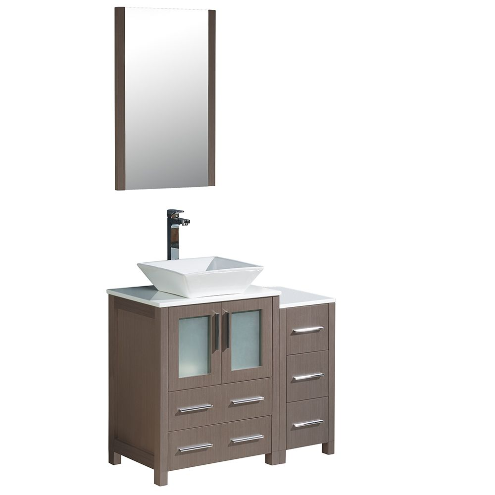 Torino 36-inch W Vanity in Grey Oak with Side Cabinet and Vessel Sink