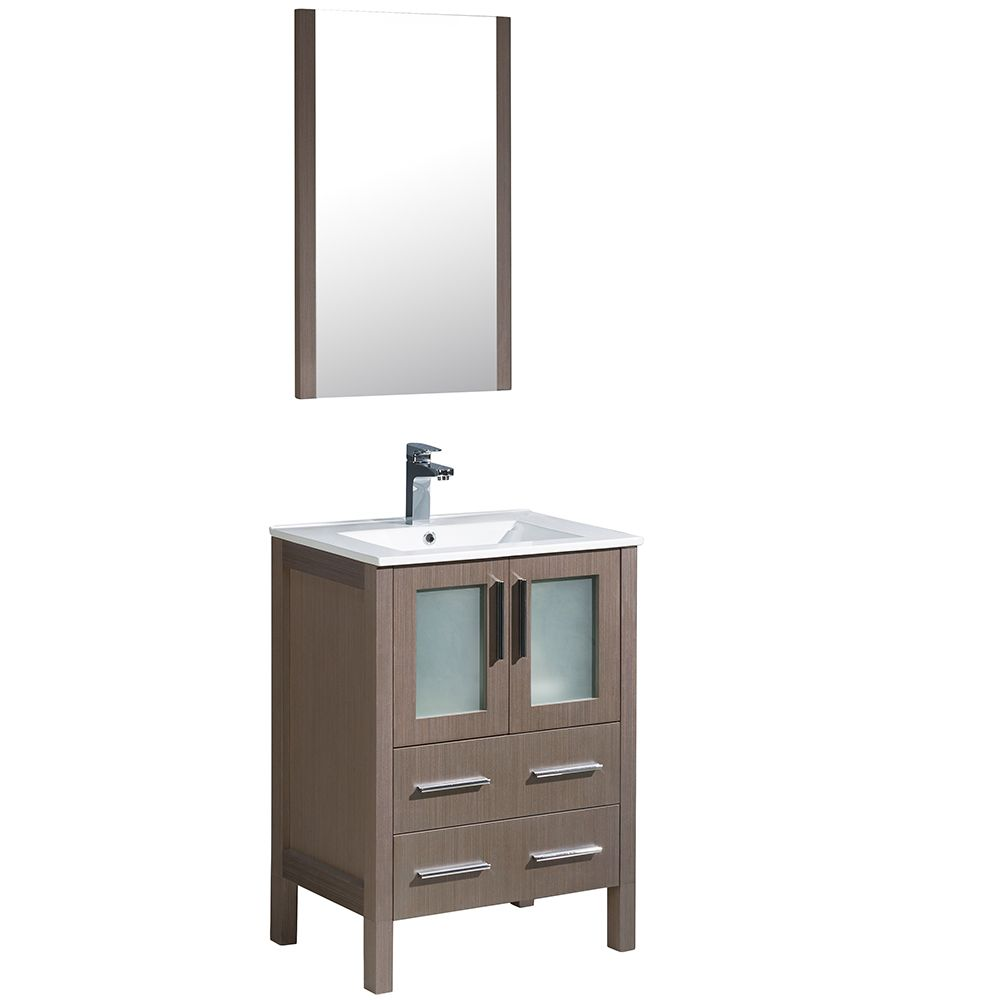 Torino 24-inch W Vanity in Grey Oak Finish with Integrated Sink and Mirror