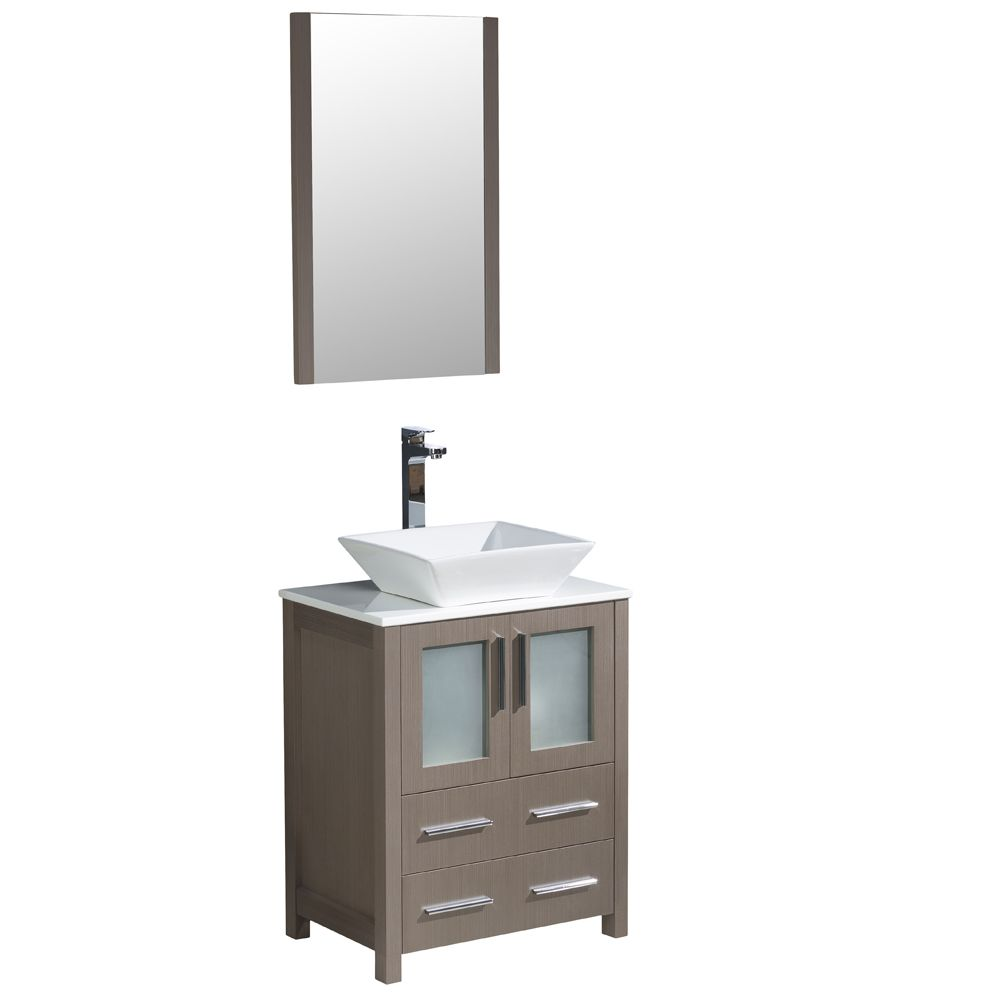 Torino 24-inch W Vanity in Grey Oak Finish with Vessel Sink and Mirror