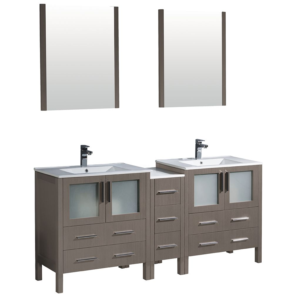 Torino 72-inch W Double Vanity in Grey Oak with Side Cabinet and Integrated Sinks