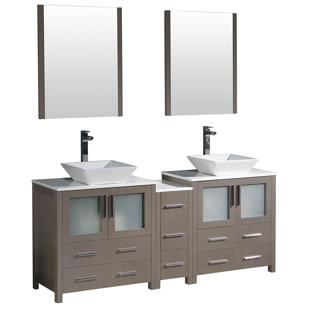 Torino 72-inch W Double Vanity in Grey Oak with Side Cabinet and Vessel Sinks
