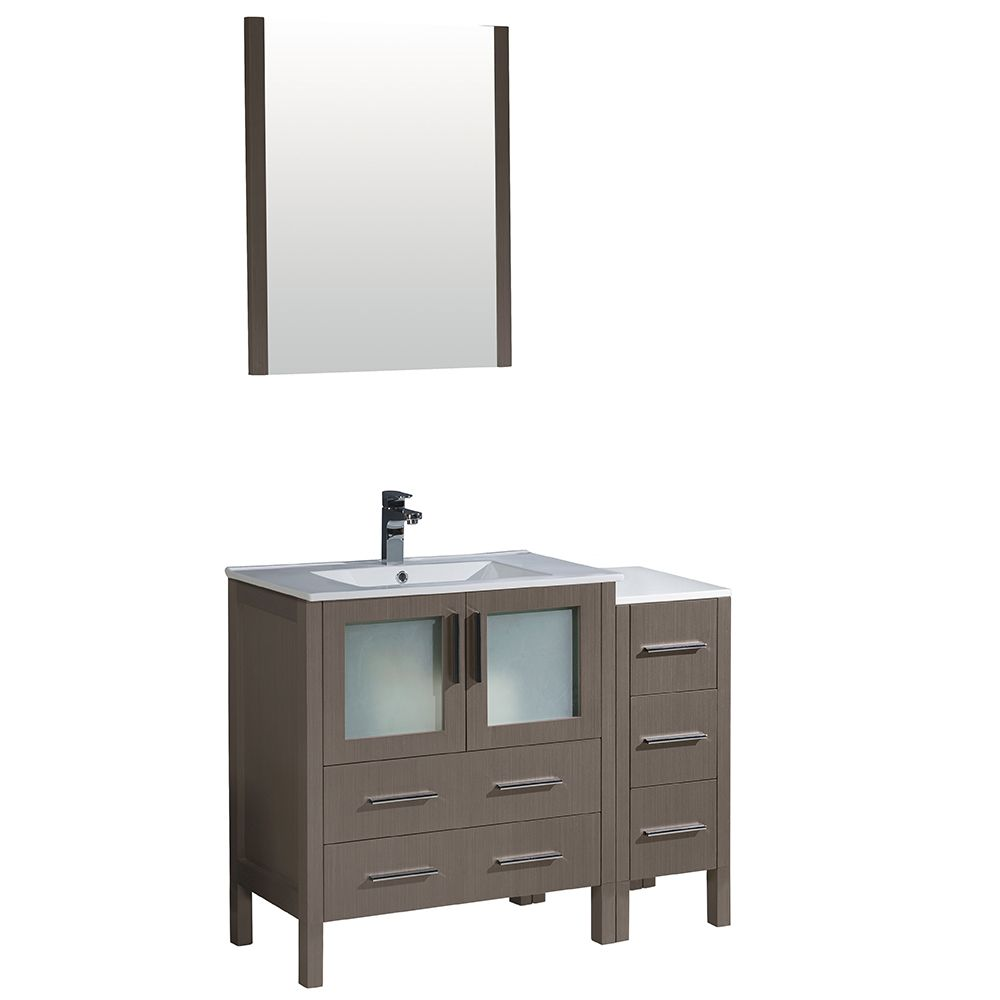 Fresca Torino 42-inch W Vanity in Grey Oak with Side Cabinet and Integrated Sink