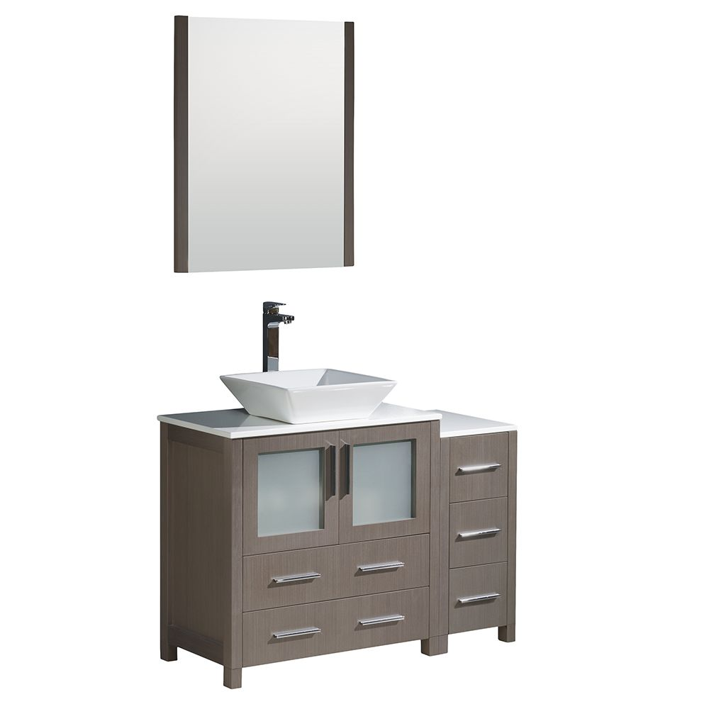 Torino 42-inch W Vanity in Grey Oak with Side Cabinet and Vessel Sink