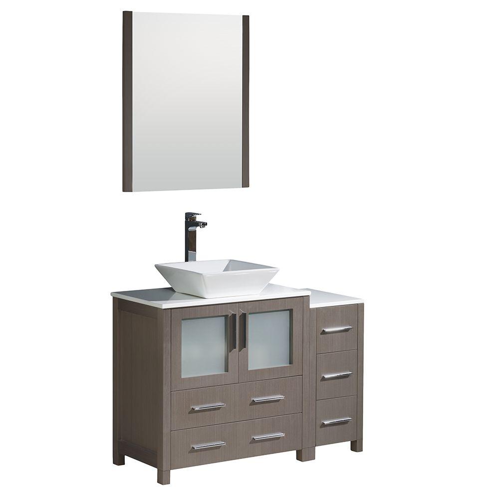 Torino Meuble-lavabo de salle de bains moderne 42 po chêne gris avec armoire latérale