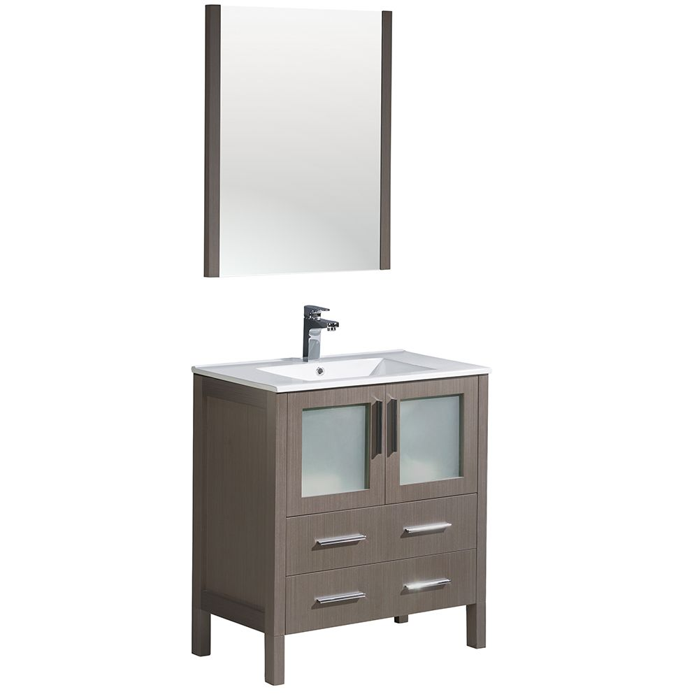 Torino 30-inch W Vanity in Grey Oak with Integrated Sink and Mirror