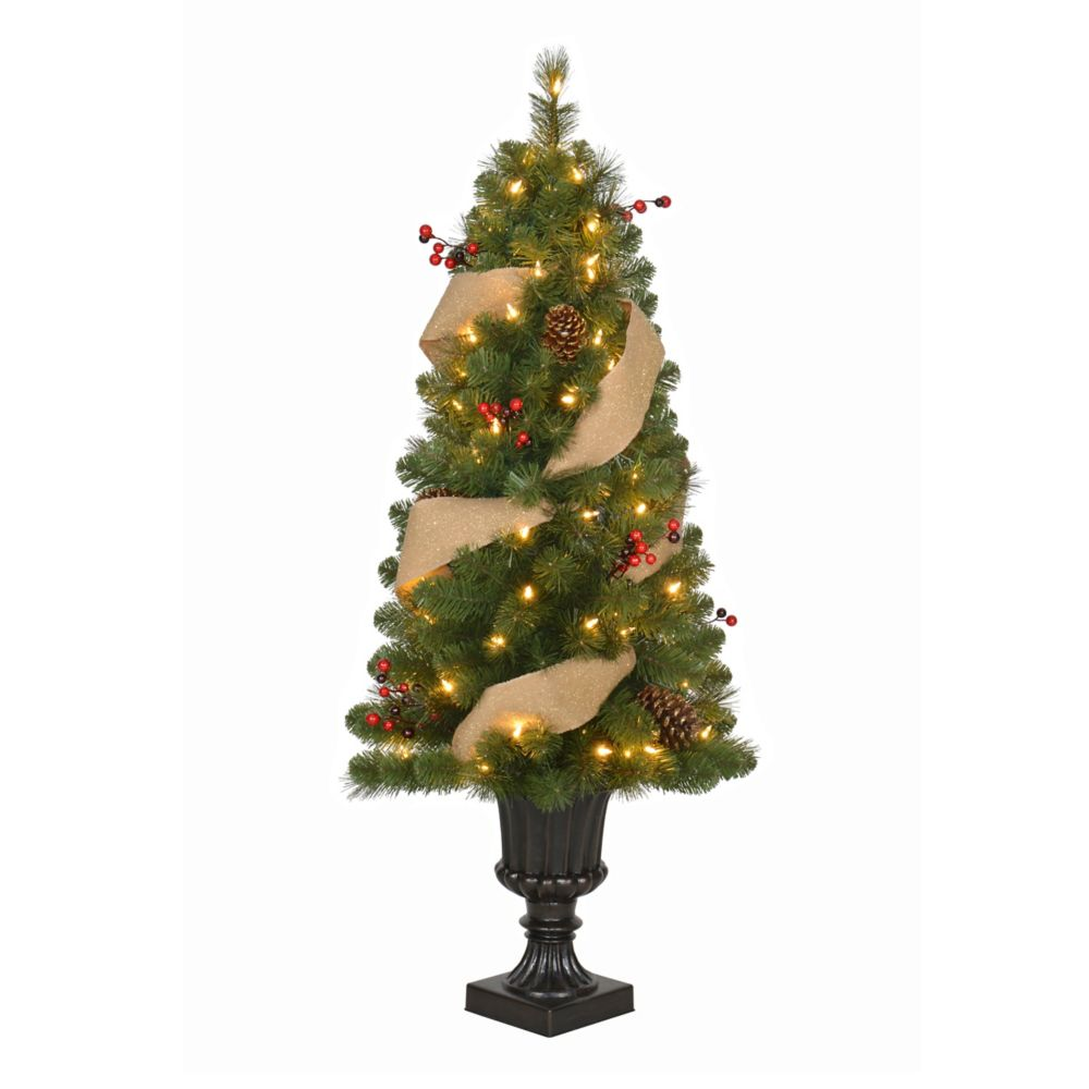 4 Feet Pre-Lit Balsam Queen Potted Tree