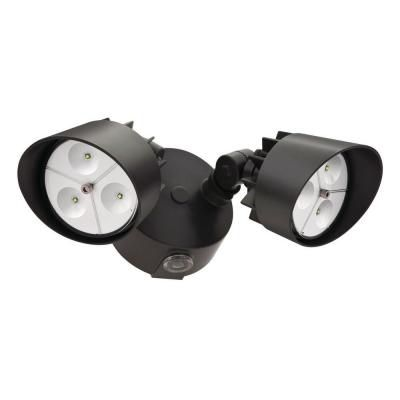 Flood Light - LED Wall Mount 2 Head Bronze with Photocell