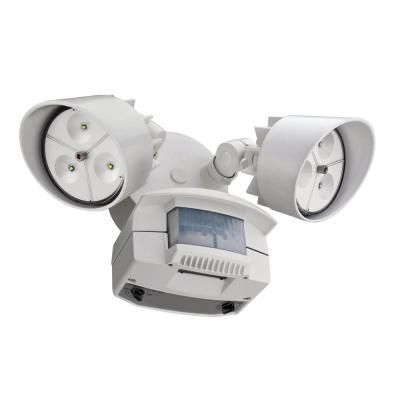 Flood Light - LED Wall Mount 2 Head Motion Sensing White