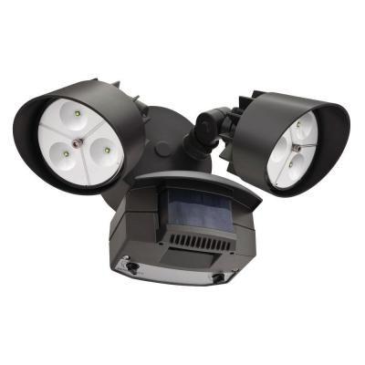 Flood Light - LED Wall Mount 2 Head Motion Sensing Bronze