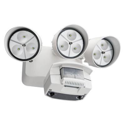 Flood Light - LED Wall Mount 3 Head Motion Sensing White