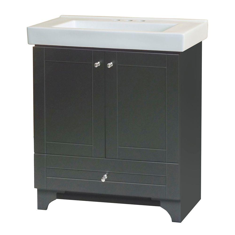 Ensemble de meuble-lavabo Cornerstone de 76,83 cm (30 1/4 po) larg. - chocolat noir
