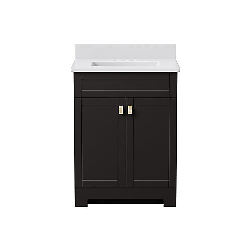 Essex 25-inch W 2-Door Freestanding Vanity in Dark chocolate With Artificial Stone Top in White