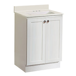 Magick Woods 25-inch W 2-Door Freestanding Vanity in White With Artificial Stone Top in White
