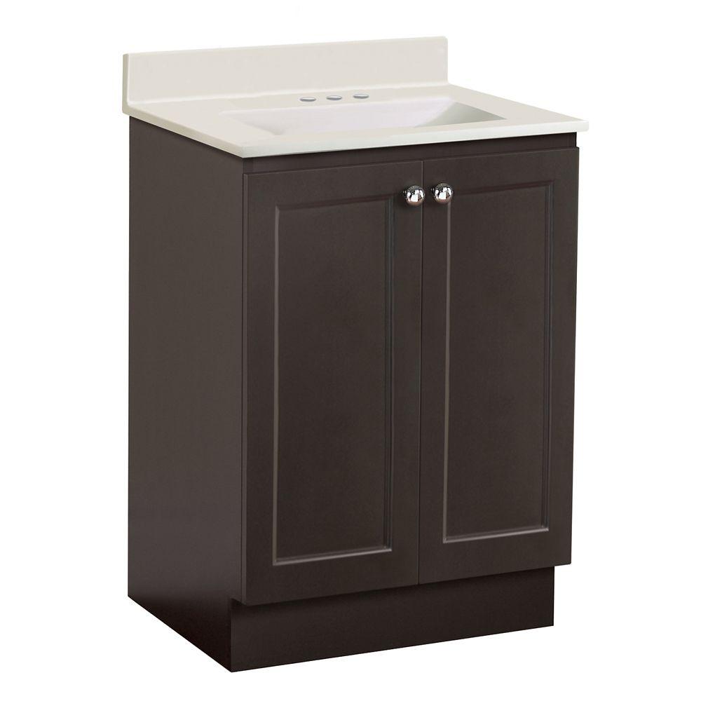 Ensemble de meuble-lavabo Classic de 76,2 cm (25 po) larg. - chocolat noir