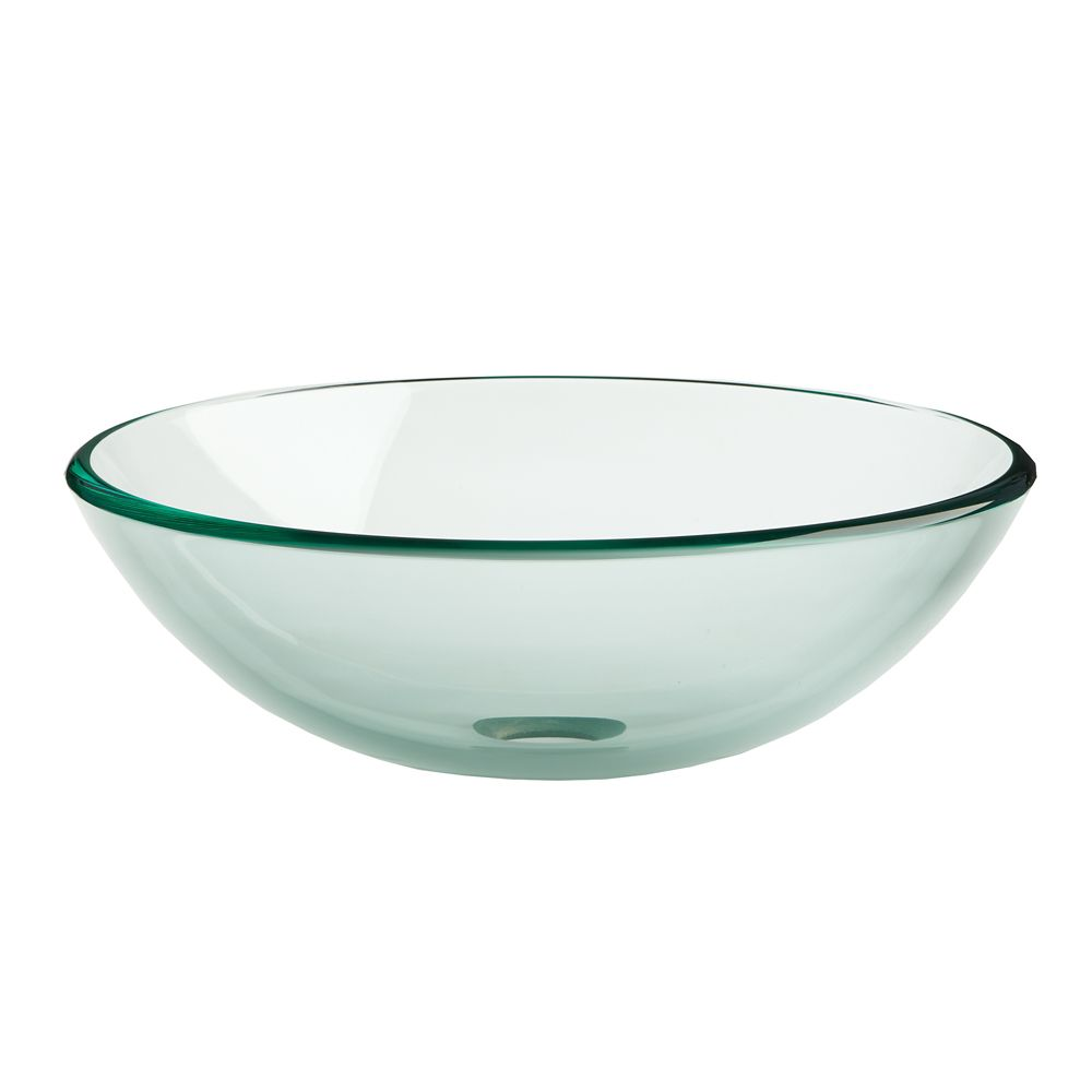 16 1/2-inch W Vessel Sink in Clear Glass