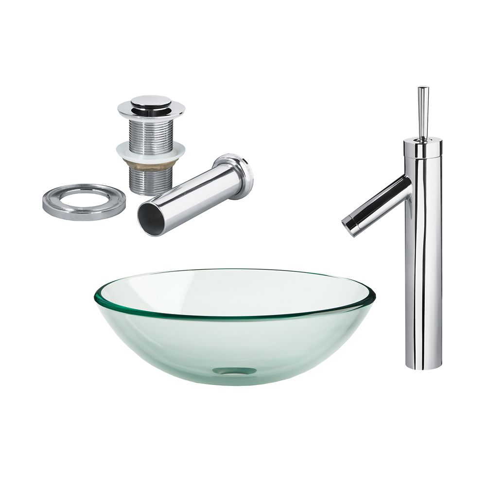 Clear Glass Vessel Sink with Faucet in Chrome