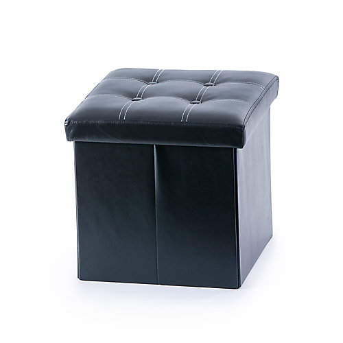 14.5-inch x 14.5-inch x 14.5-inch Faux Leather Ottoman in Black