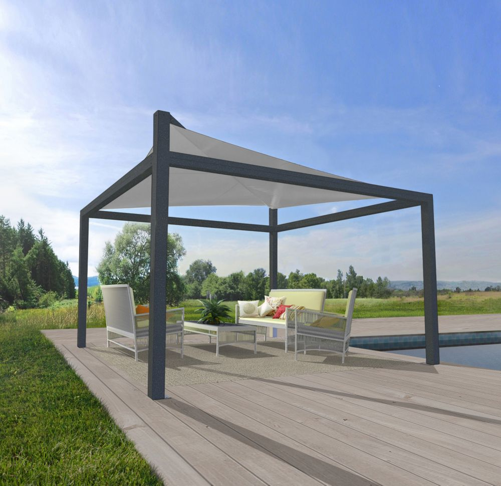 Vela 10 ft. x 10 ft. Free Standing Canopy with Removable Sail in Charcoal and Silver