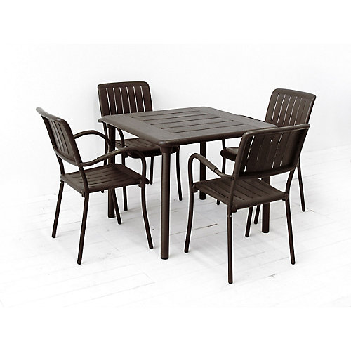 Patio Dining Set with Maestrale Square Table and 4 Musa Armchairs in Brown