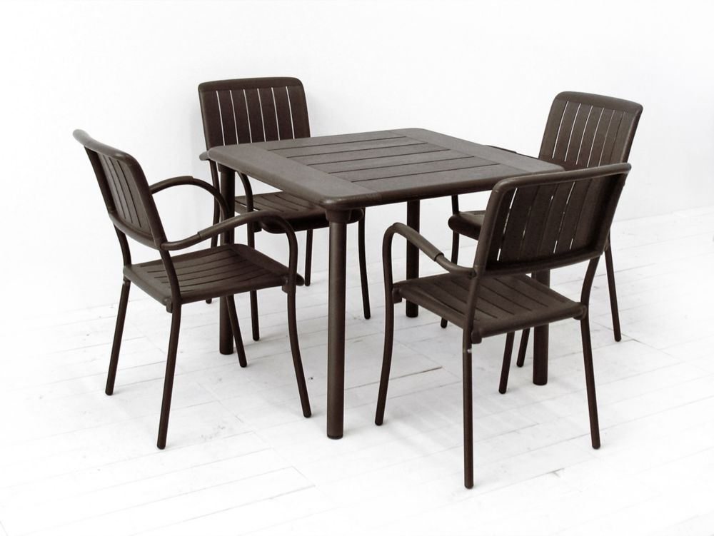 Nardi Patio Dining Set with Maestrale Square Table and 4 Musa Armchairs in Brown