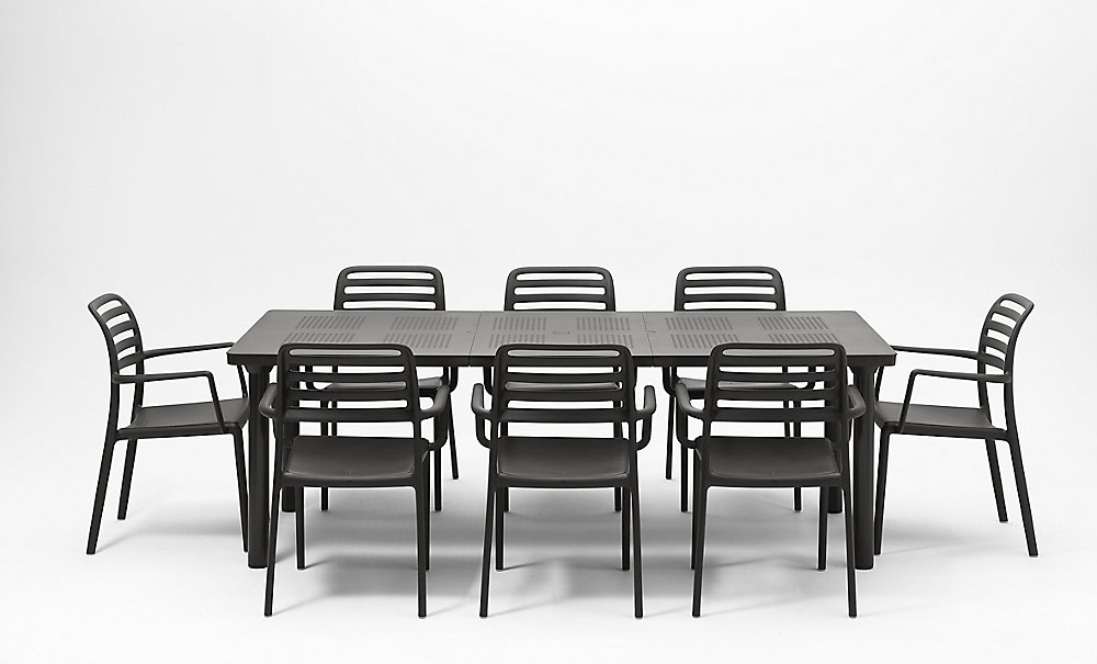 Nardi Libeccio Extensible extérieure table à manger avec 8 Costa Fauteuils  (gris-foncé)