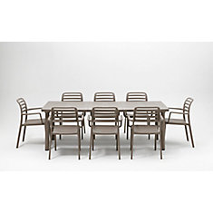 Libeccio Extendable Patio Dining Table With 8 Costa Armchairs in Tortora