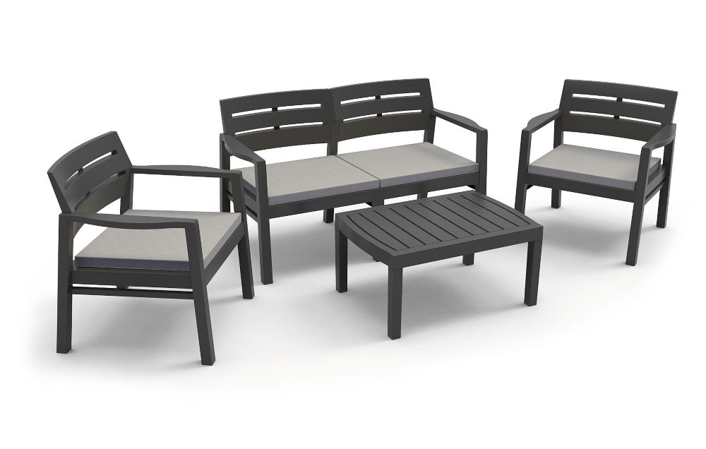 4-Piece Java Conversation Set in Charcoal with Grey Cushions