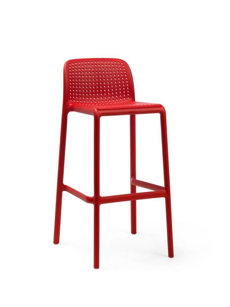 LIDO Outdoor Resin Barstool in Red (4-Pack)