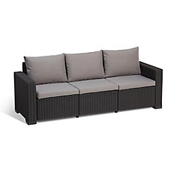 ALLiBERT California 3-Seater Outdoor Couch in Charcoal
